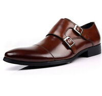 Pumps mens real Leather Dress Shoes Double Korean Strap Buckle brown Formal New