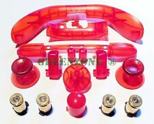 XBOX 360 ABXY Brass Bullet Buttons + Full Clear Red Mod Kit,Triggers,Sync, Etc