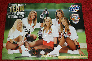 Sexy Hooters Girl Uniform ASA Softball Team Easton Poster Sign Miller Lite Beer