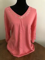 Quacker Factory Size Large 3/4 Sleeve Coral Pink Sweater V-Neck Sequins A66024