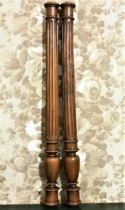 Pair baluster groove wood turning column Antique french architectural salvage