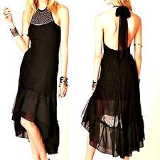 $147 FREE PEOPLE Black Beaded Necklace Halter DRESS High Low Ruffle Skirt Hem S