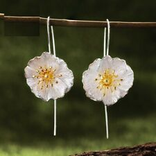 Real Silver Jewelry for Women Cute Blooming Poppies Flower Dangle Earrings
