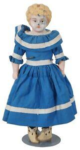 "Antique Victorian German Minerva Tin Head Doll Blonde Cloth Body Blue Dress 10"""