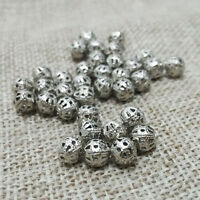 Lot 50 Perle 6mm Filigrane Rond Metal Charms Argente Mat Creation Bijoux