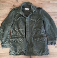 Vintage 1958 OG-107 OD Olive Green Sheen Military Field Jacket Size Medium Long