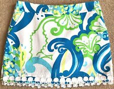 LILLY PULITZER BLUE GREEN CRYSTAL COAST LACE TRIM SKORT $118 8