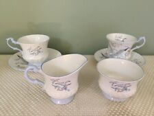 Rosina Queens Fine Bone China SEAGULL Creamer & Sugar and Two Cup & Saucer Set
