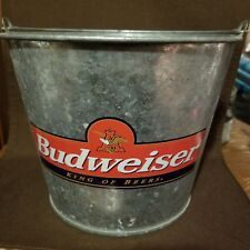 Vtg Budweiser KING OF BEERS Galvanize Metal Ice Bucket aith Handle Great cond