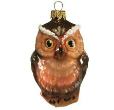 "4"" Brown Owl Bird Shaped Glass Christmas Ornament Handblown by Ariel, Russia"