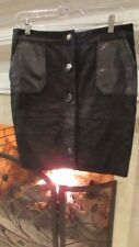 Coster Copenhagen Black Suede/Leather Metal Button Skirt Sz 38 (USA 8) $128