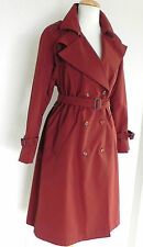 Vtg Hettemarks Trench Coat Size M/L Made in Sweden Quilted Lining Red/Brown