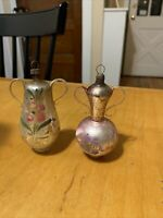 2 Vintage  Glass Christmas Ornaments New Year Decorations Jugs K4