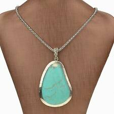 Tibet Silver Nature Turquoise Teardrop Chain Charm Handmade Necklace Pendant