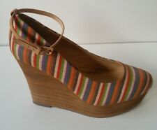 REPORT Striped Platform Wedges with Ankle Strap Size US 10