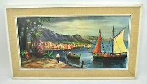 Vintage 1960s Kitsch Framed Picture 'Italian Riviera By Artman'