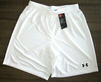 "Under Armour Men's Golazo Soccer Shorts 1259614 8"" Inseam  White   Sm - 2XL"