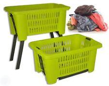 Green Laundry Hamper Basket With Folding Legs Storage Bin Helps Reduce Bending