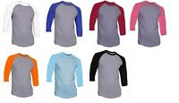 7 Pieces 3/4 Sleeve Raglan Baseball Mens Plain Tee Jersey T-Shirt Gray Base S