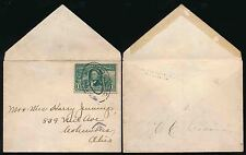 USA PITTSBURGH PAID 5 OVAL 1904 SINGLE FRANKING MINI ENVELOPE 1c UNSEALED MAIL