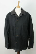 BURBERRY Black Leather Coat size 52