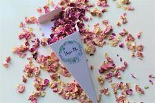 Biodegradable Confetti Cone + Pink Ivory Rose Petal Confetti + Sticker x 10 Cone
