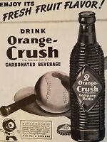 1945 Orange Crush Soda ribbed brown bottle baseball bat ad