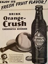 1945 Orange Crush Soda ribbed brown bottle baseball bat ad