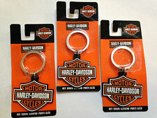 3 LOT HARLEY DAVIDSON BAR & SHIELD LOGO PVC/RUBBER KEYCHAINS KEY RINGS NEW