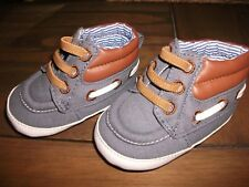 BNWOT Boys Blue Grey & Tan Canvas Ankle Boots Age 0-3 Months