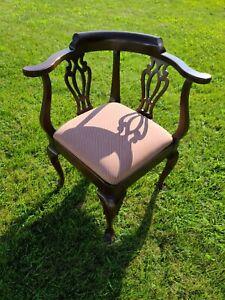 *RARE* Ethan Allen Georgian Court Corner Chair Cherry Upholstered #11-9235 #225
