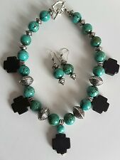 Turquoise & Black Cross Howlite and Silver Chunky Jewelry Necklace/Earrings Set