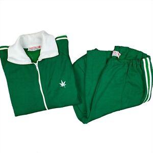 Vintage 70s Boast Green Striped Track Suit Rare Men's Size Large