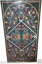"""30""""x60"""" Marble Dining Coffee Table Top Marquetry Rare Mosaic Inlaid Decor H2496"""
