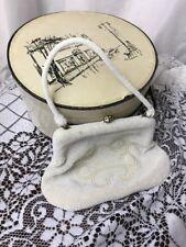 Vtg Bridal Clutch Beaded Wedding Evening Bag Purse Ivory White 30s 40s 50s 60s