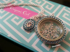 NEW ORIGAMI OWL silvertone Snowflake set: Tuquoise face and Vintage Aqua dangle