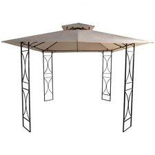 Gazebo in ferro battuto 3x3xh2,60 mt beige tetto in poliestere PE esterno|88