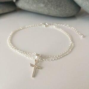 Sterling Silver Cross Bracelet. Silver Cross Bracelet. Silver Crucifix Bracelet.