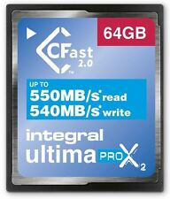 Integral 64GB 3666X Speed UltimaPro X2 CFast 2.0 Tarjeta. INCFA 64G-550/540