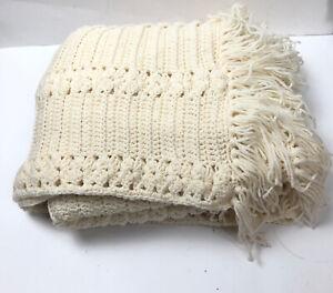 Ivory Cream Afghan Throw Blanket Large Crochet Knitted Fringe 43 x 64