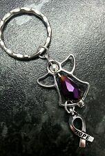 Fibromialgia conciencia púrpura llavero encanto de ángel. elemento De Swarovski cuentas de vidrio.