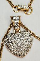 Vintage Swarovski Crystal Necklace Heart Gold Tone Signed Swan Collectable