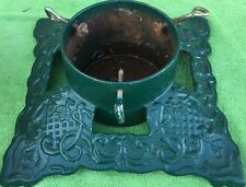 """Vintage  15"""" X 15"""" Cast Iron Green Holley Christmas Tree Stand  7 1/4 Opening"""