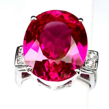 TOPAZ PINK RASPBERRY OVAL 21.10CT.SAPPHIRE 925 STERLING SILVER RING SZ 6.5 GIFT