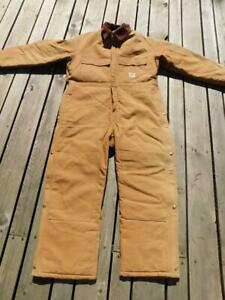 Carhartt 46 Short Brown Arctic Coverall Quilt Lined Duck X02 USA Made Zip Snap M