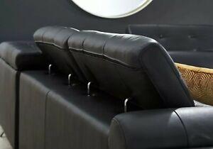 Leather Living Room Set 2 pc Black Dolcedo