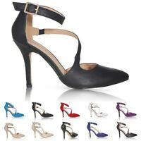 LADIES WOMENS SEXY POINTED TOE ANKLE STRAP HIGH HEEL PUMPS COURT PARTY SHOES
