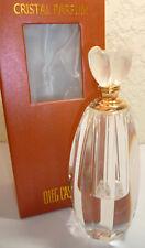 "OLEG CASSINI Crystal Perfume Bottle 3204 Flower Gold Tone Hardware Signature 6"""