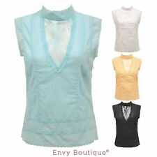 Cotton Party Patternless Sleeveless Tops & Shirts for Women