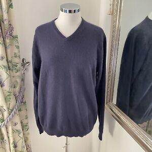 Boden L navy blue 100% cashmere v neck knitted jumper soft machine washable